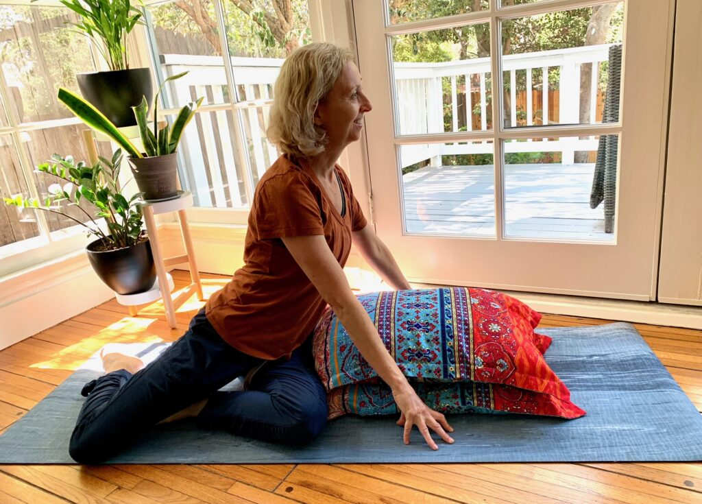 Woman preparing for supported twist